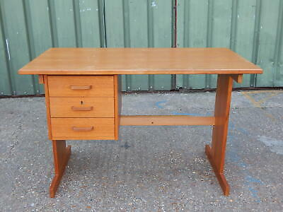 Compact mid century vintage teak office / computer desk with three side drawers