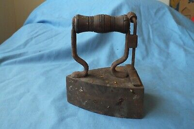 Antique Wooden Handle Cast Iron Flat Iron Small