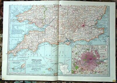 Antique Map ~ Southern Part ENGLAND & WALES  Devon CORNWALL London WALES ~ 1902