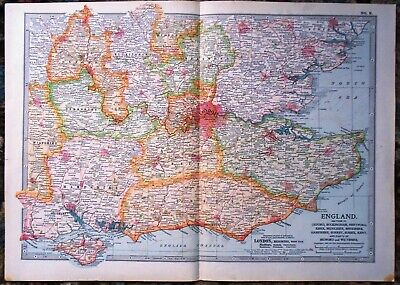 Antique Map ~ ENGLAND Oxford BUCKINGHAM Essex KENT Sussex BERKSHIRE Etc. ~ 1902