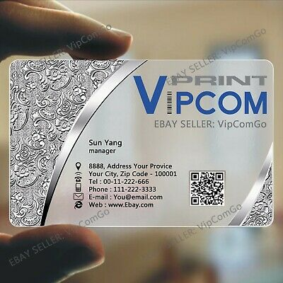 200 Frosted Transparent PVC Plastic Business Cards Print Custom Name Card Print