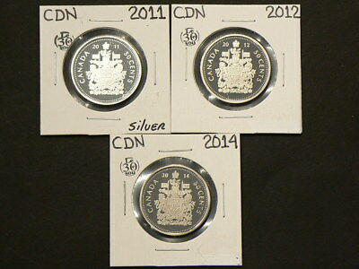 🍁 2011 2012 2014 Canada 50 Cents Lot of 3 Proof Coins #275