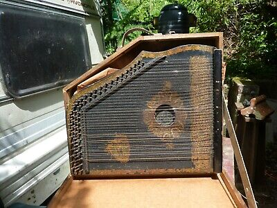 Old german zither, needs work, 32 strings in own wooden box, large