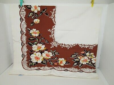 "Vintage RETRO California Hand Prints 52"" x 48"" Rectangle BROWN FLORAL Tablecloth"