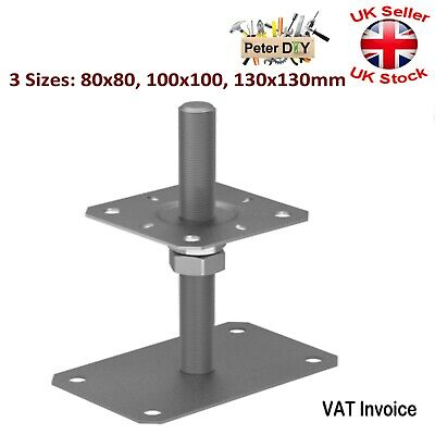 Heavy Duty Galvanised BOLT DOWN POST SUPPORT Fence Foot Pergola Anchor 3 Sizes