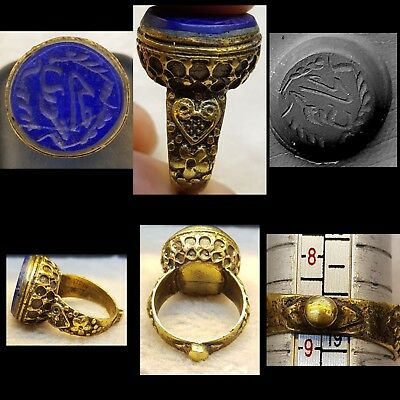 Wonderful Lapis lazuli Stone Islamic Iscription Calligraphy Lovely Old Ring