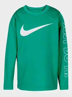 Nwt Nike Dri-Fit Boys Size 3T Neptune Green Thermal Long Sleeve Shirt Msrp $24