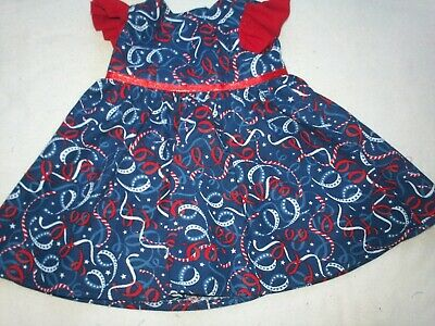 "Fits American Girl 18"" Doll Clothes-Patriotic Streamer Navy Ruffled Sleeve Dres1"