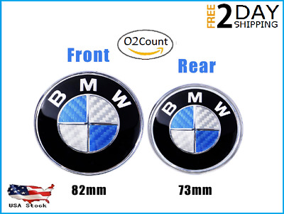 "2Pc BMW Logo Emblem Replacement for Hood or Trunk,Front 82"" & Rear 74"" ALL MODEL"