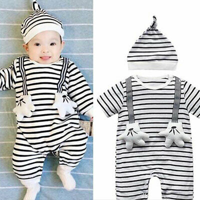 UK Newborn Baby Boy Girls Romper Velvet Hooded Jumpsuit Bodysuit Outfits Clothes