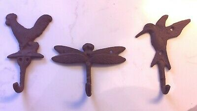 Lot of 3 RUSTIC BROWN CAST IRON HOOKS DRAGONFLY ROOSTER HUMMINGBIRD TOWEL HANGER