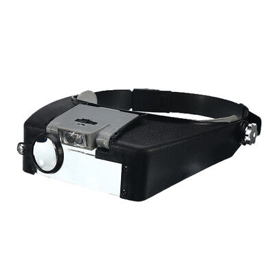 Multi Power Headband Magnifying Glass LED Lighted Head Magnifier Loupe W/ 3 Lens