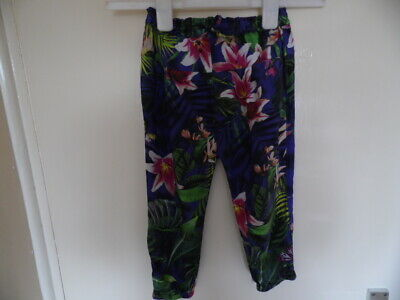 Girls floral trousers with elasticated, tie waist and ankles size 3-4yrs 104cms