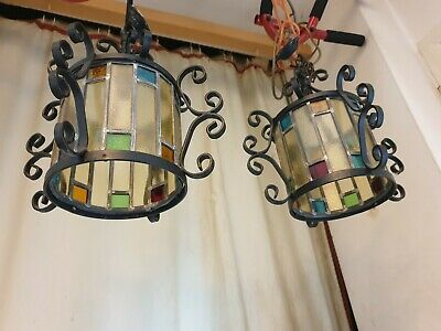 2 Vintage Wrought Iron /Metal Leaded Stained Glass Hall Porch Light Lanterns