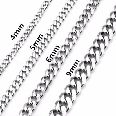 4-9mm Men's 316L Stainless Steel Silver  Hexagonal Curb Link Chain Necklace Gift