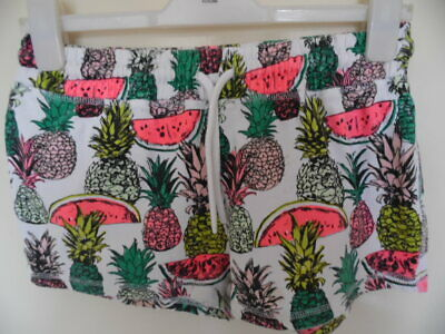 Girls White, pineapple pattern shorts with elasticatd tie waist size 14yrs
