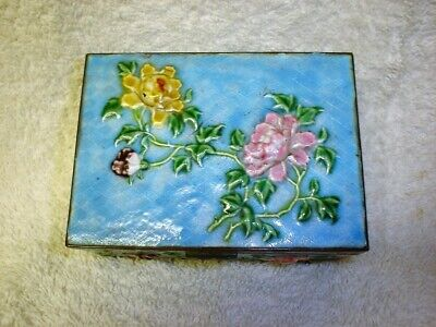 Lovely Antique Chinese Pink Floral & Blue Enamel Box