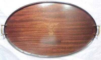 USNA Antique Mahogany Oval Tray Satinwood Inlaid Navy Logo Brass Handles c1916