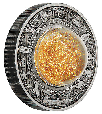 2019 Golden Treasures of Ancient Egypt 2oz .9999 SILVER $2 ANTIQUED COIN