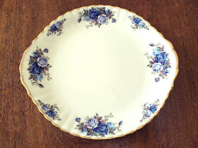 "Royal Albert Fine Bone China ""Moonlight Rose"" Handled Cake Plate Made In England"