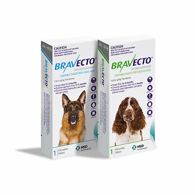BRAVECTO for Dogs: Tick & Flea Chewable Tablets for all sizes - Single Chew
