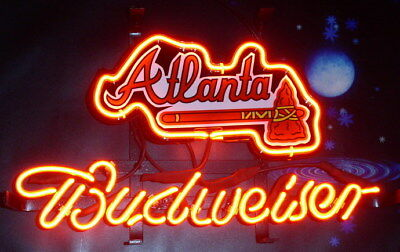 "New Budweiser Atlanta Braves Beer Neon Light Sign 14""x10"""