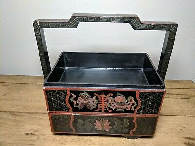 Vintage Chinese Black Lacquer Hand Painted Stacked Box Trays Caddy