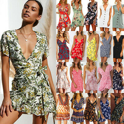 Women Strappy Floral V-neck Mini Tea Dress Summer Holiday Beach Party Sundress