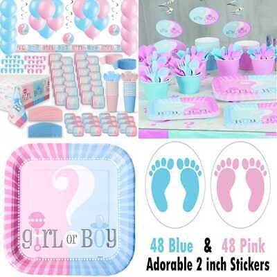 Gender Reveal Party Supplies For 24 Two Size Plates + Cups Napkins Cutlery Table