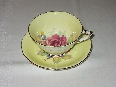 Paragon Bone China Vtg Tea Cup Saucer Yellow w Red Floating Rose England