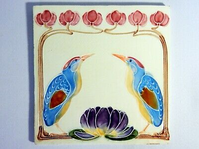Antique Original England Tile Washstand Fireplace Wash Stand Art Nouveau Birds