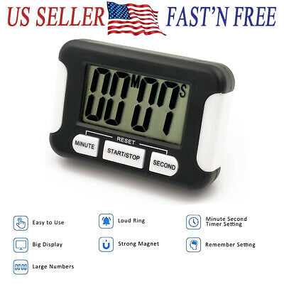 Kitchen Cooking Timer Count-Down Up LCD Digital Clock Loud Alarm Magnetic 24H