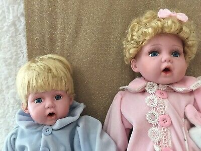 Porcelain Dolls Twins Baby Boy and Girl