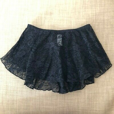Wear Moi NEW Black Lace Short Sheer Ballet Skirt Size Child XL/Adult XS