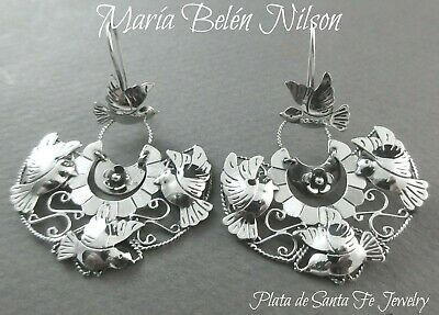 "Maria Belen ~Romantic Feminine ""Doves in Flight"" ~ Filigree Mexican 925 Earrings"