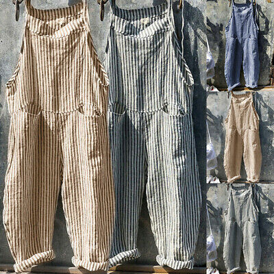 AU Women Casual Baggy Striped Cotton Linen Wide Leg Overalls Dungarees Jumpsuit