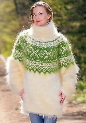7a52c5875c3 Long ivory sweater dress Icelandic fuzzy mohair pullover warm Nordic jumper