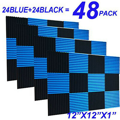 UK 48pcs Blue&Black Studuio Soundproofing Acoustic Wedge Foam Tiles Wall Panels