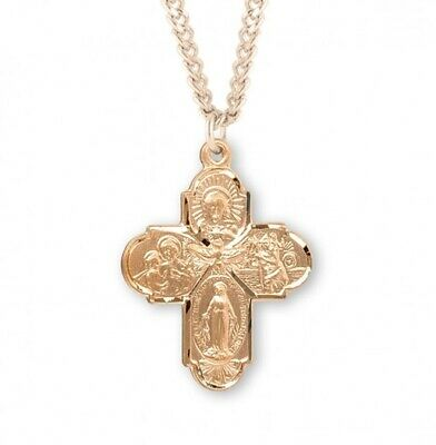 Four-Way Catholic Cross Medal 16K Gold Over Sterling Silver Necklace