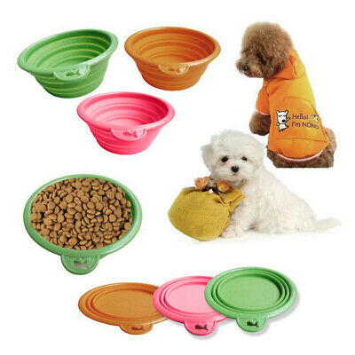 Pet Dog Folding Water Food Feeding Bowl Travel Retractable Silicon Gel Bowl