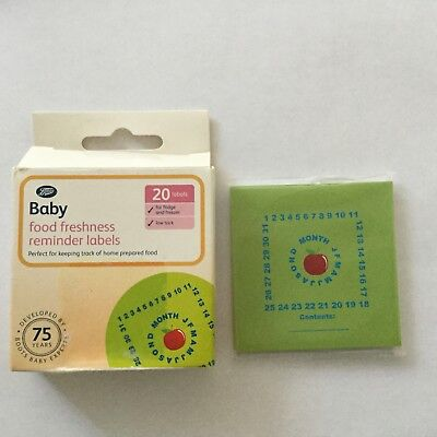 NEW - Boots - Pack Of 20 Baby Food Freshness Reminder Labels