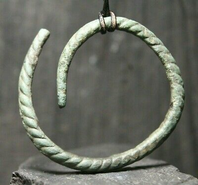 Ancient Viking Rare Bronze Patina Bracelet, Antique Artifact, 6-11th Century AD