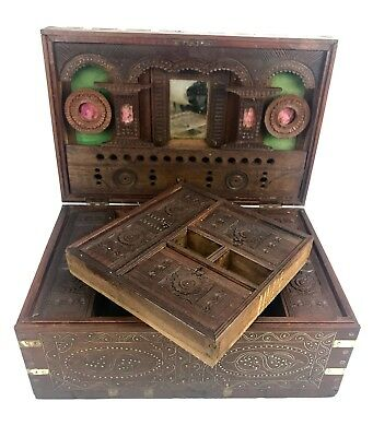 19th Century Wooden Mandalay Box / Colonial Teak Campaign / Deed Box c.1860