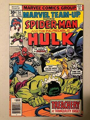 Marvel Team-Up Comic Book #54 Spider-Man and The Incredible Hulk 1977 FINE+