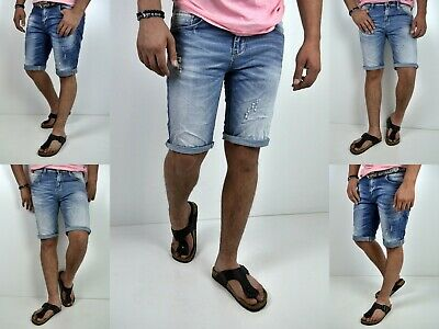 Young Herren Fashion Jeans Sommer Stone Washed Destroyed Mode Blau Kurze Hose