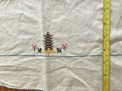 vintage tablecloth, luncheon size, cross stitch pagoda and more, delicate