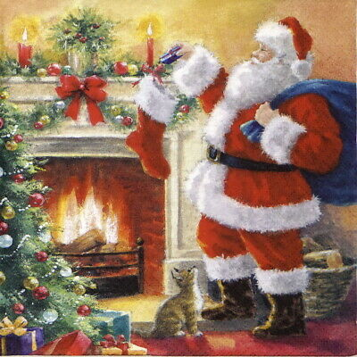 4x Paper Napkins for Party, Decoupage Craft - Santa Placing Presents in Stocking