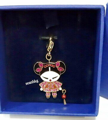 Swarovski Chinese Doll Charm W/Lantern Fuchsia Crystal AUTHENTIC MIB 1161121