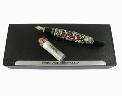 Jinhao Luxury Ancient Chinese Ming Dynasty Emperor Style Dragon Play Red Jade...