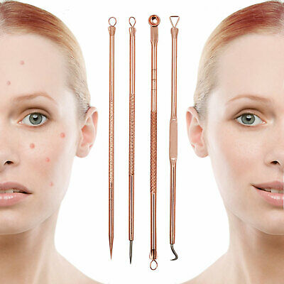 4x Pimple Remover Kit Blackhead Spot Comedone Extractor Whitehead Popper Tool